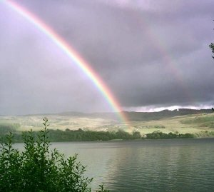 A double rainbow over loch awe