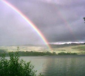 A double rainbow over loch awe
